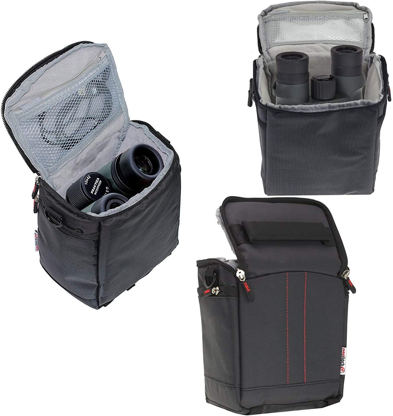Navitech Black Protective Portable Handheld Binocular Case and Travel Bag Compatible with The Braun Premium 8 56 WP-ED