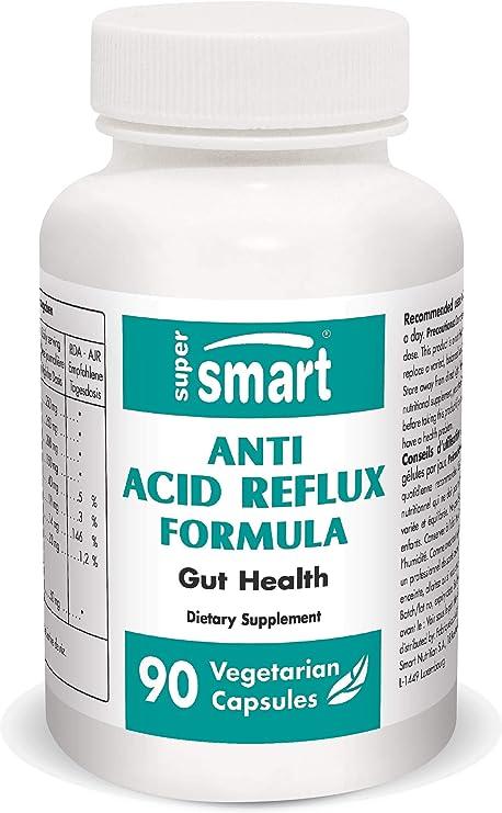 Supersmart - Anti-Acid Reflux - Relieve Heartburn & Acid Reflux Naturally | 100% Natural Non-GMO & Gluten Free - 90 Vegetarian Capsules