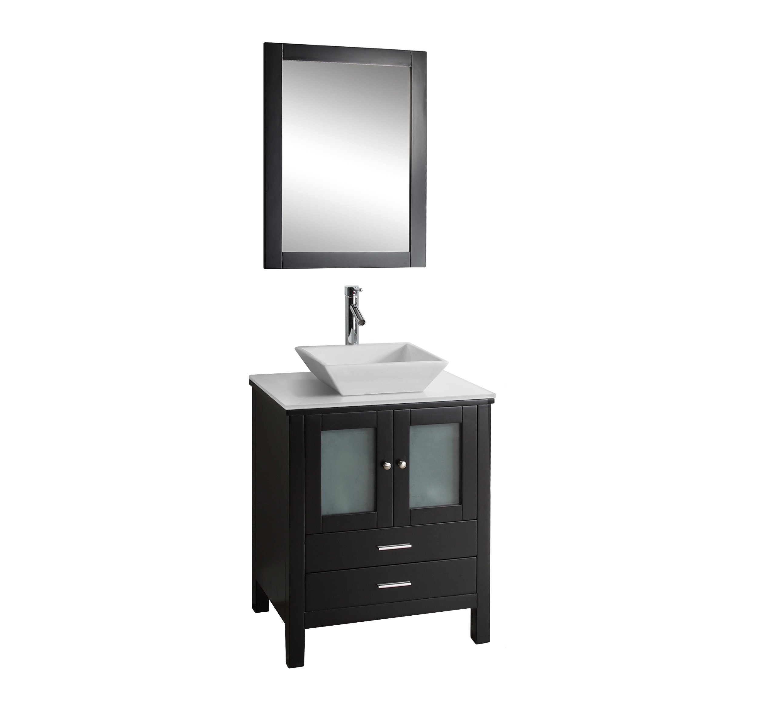 Virtu USA MS-4428-S-ES Brentford 28-Inch Single Sink Bathroom Vanity Set with White Stone Countertop, Chrome Faucet, Espresso Finish