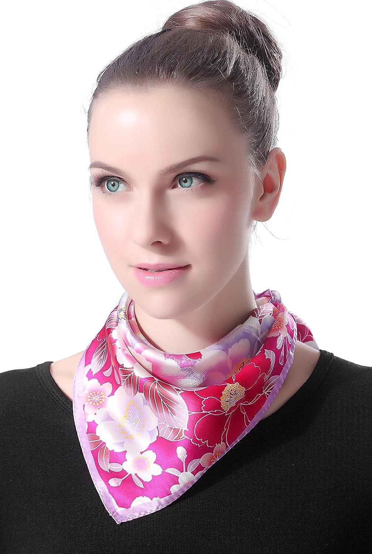 "Luxury Lane Women's ""Pink & Purple Cherry Blossom"" Silk Square Scarf"