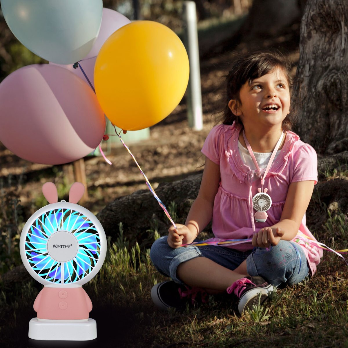 BONTIME Portable Fan - Mini Hand held Fan, Rechargeable USB Fan with Colorful Night Light, 2 Speeds, Cooling for Traveling, Fishing, Camping by BONTIME (Image #8)