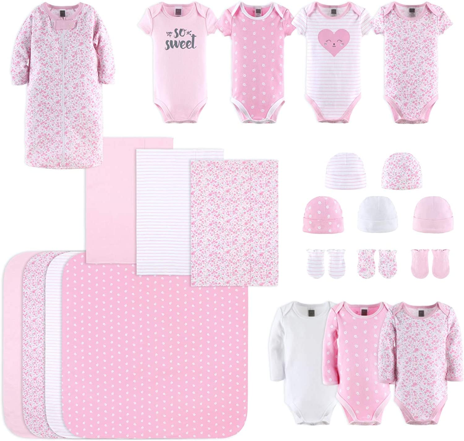 The Peanutshell Newborn Layette Gift Set for Baby Girls  8 Piece Newborn  Girl Clothes & Accessories Set  Fits Newborn to 8 Months  Floral Pink