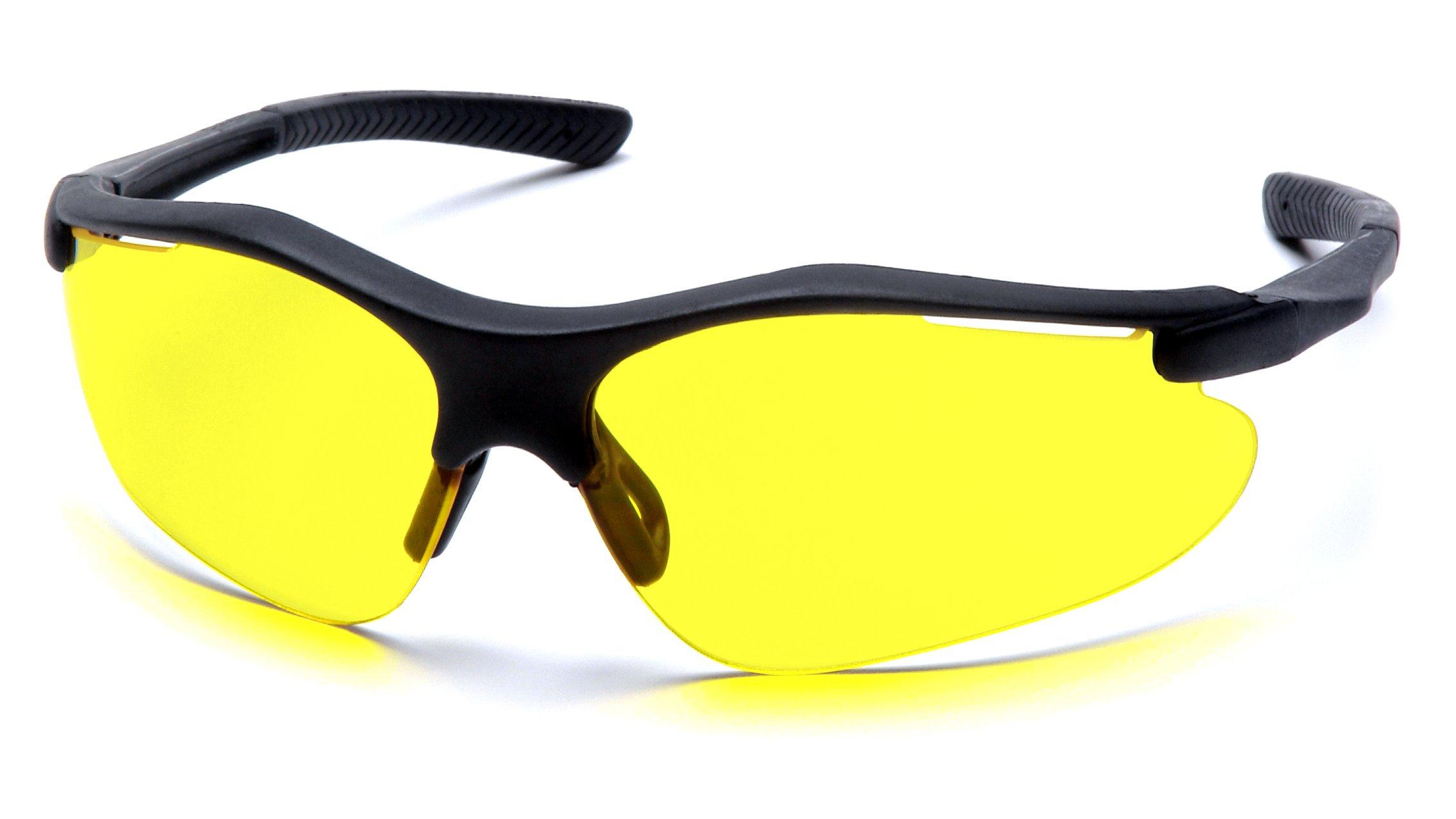 Pyramex Fortress Safety Eyewear, Amber Lens With Black Frame