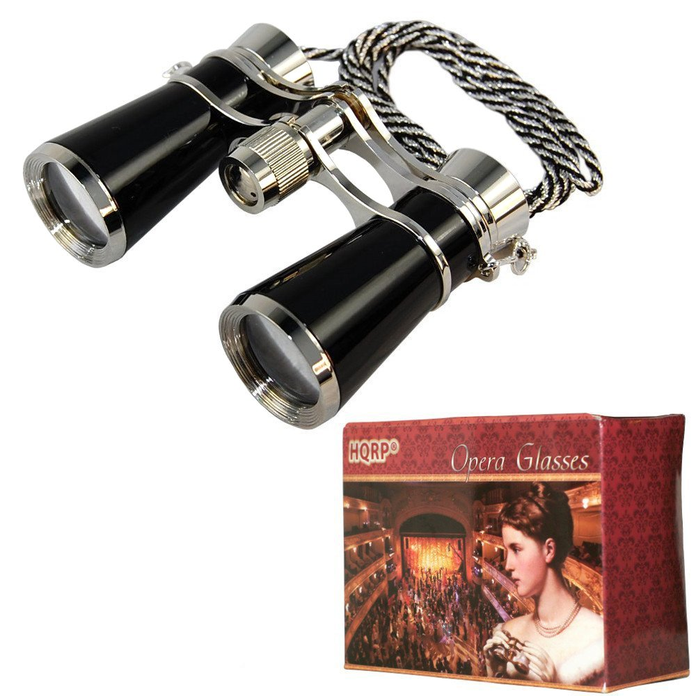HQRP High Magnification 7x25 Ultra Compact Light Opera Glasses in Elegant Black Pearl Color with Silver Trim and Silver / Black Necklace Chain