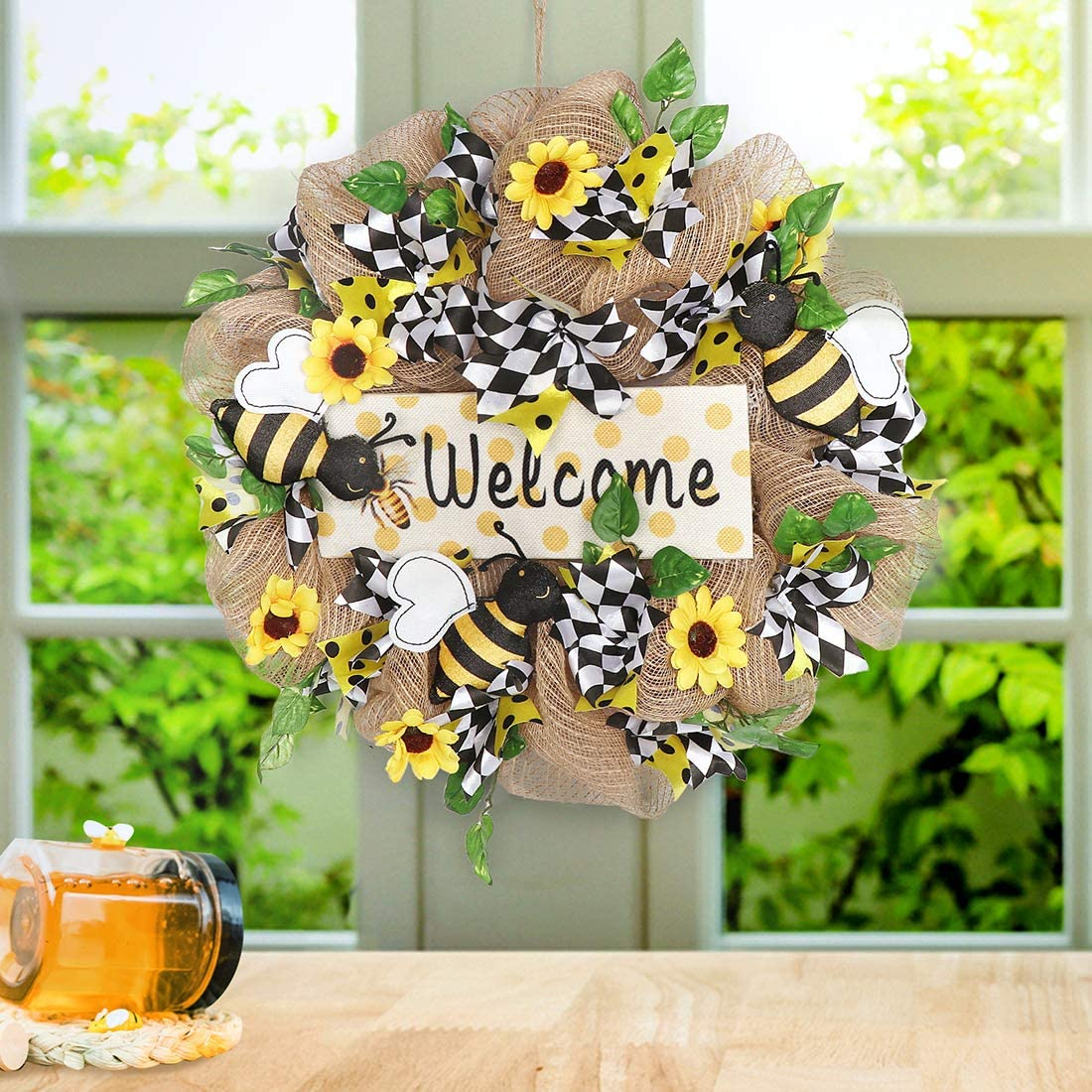 QTDLXFA Burlap Wreath 15 Inches, Artificial Sunflowers & Bee Welcome Sign with Bowknot, Spring Summer Autumn Decoration, Front Door Wall Window Wreath, Rustic Outdoor Home Decor (Yellow & White)