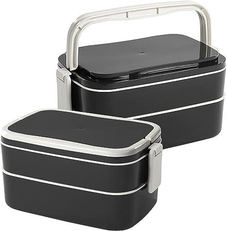 _ IKEA caja de almuerzo, negro & blanco con 2 compartimentos, tenedor y cuchara. Apta para