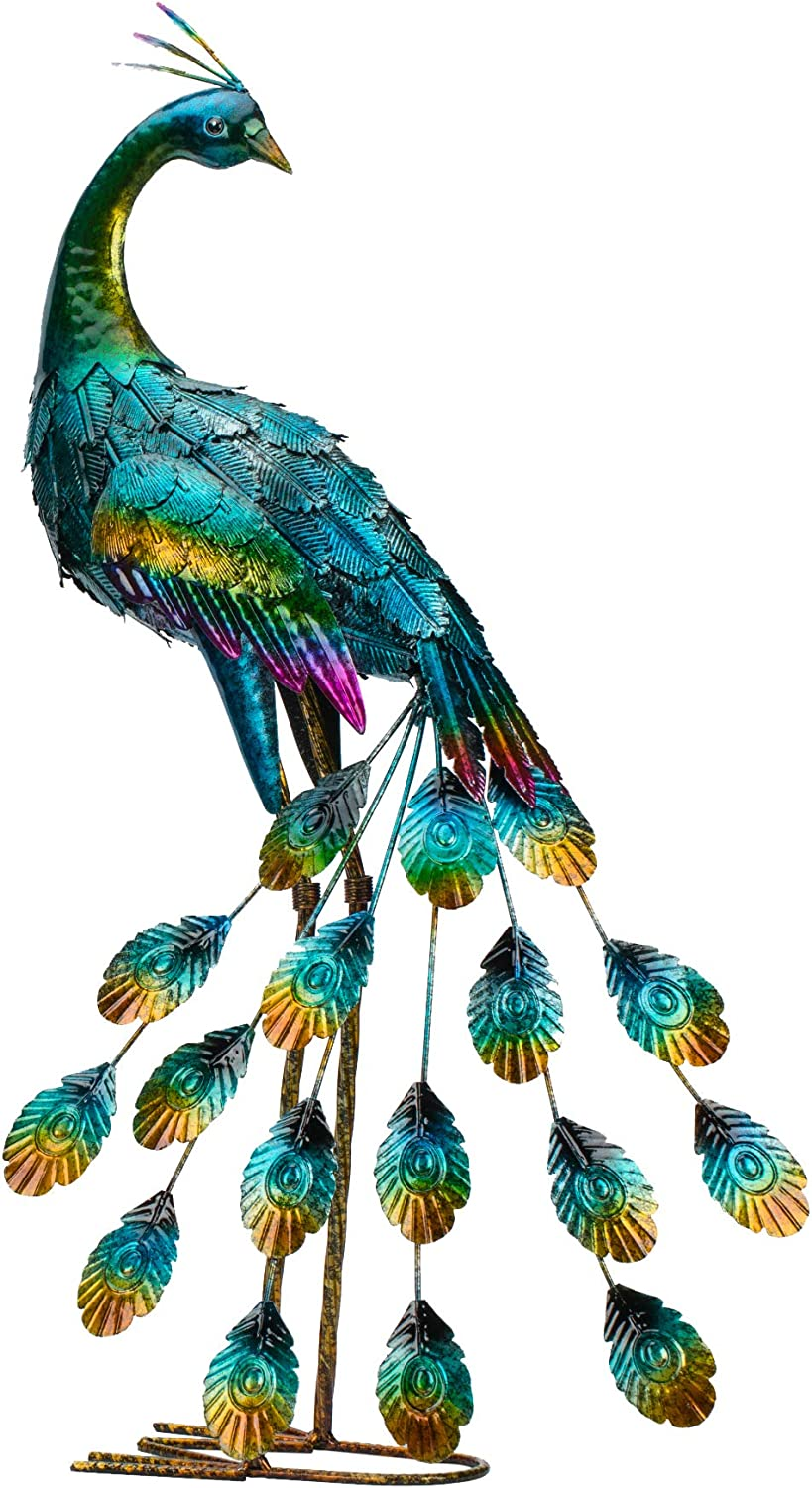 Kircust Metal Peacock Garden Statue and Sculpture, Peacocks Yard Art Lawn Ornament for Outdoor Backyard Porch Patio Decor(1-Piece)