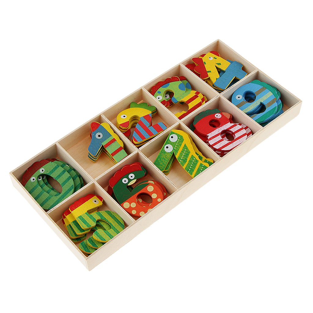 D DOLITY 40Pcs Wood Number for Kids Early Learning Educational Toys with Storage Tray