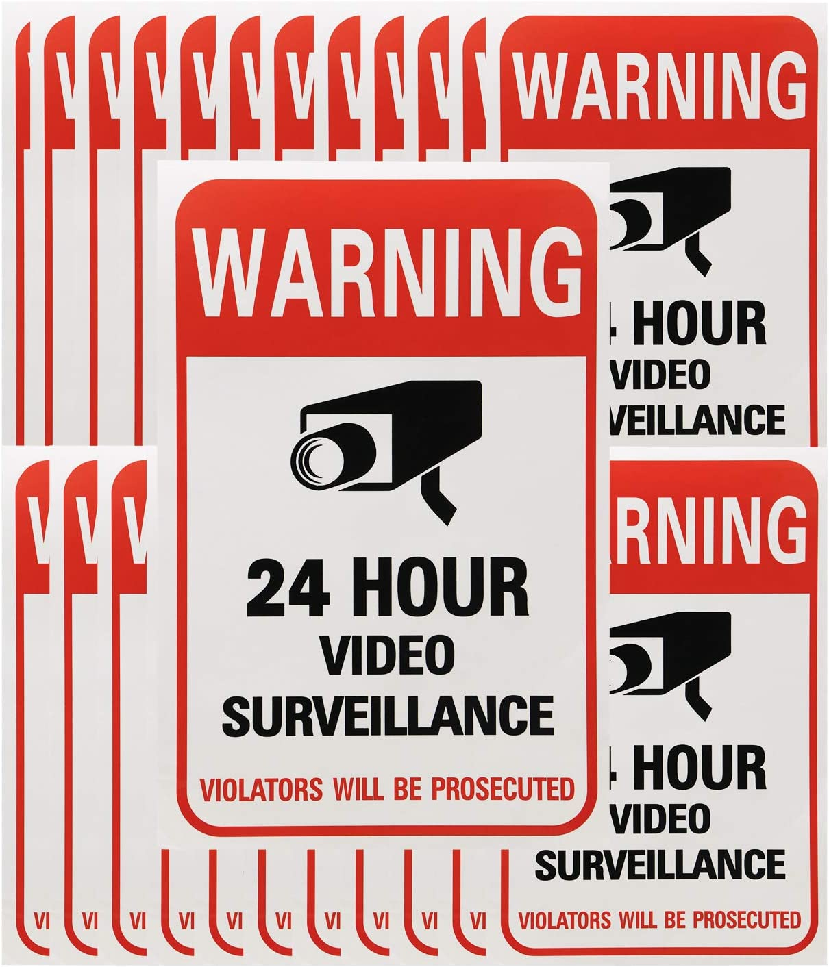 Tupalizy 24 Hours Video Camera Surveillance Sign Stickers Decals Self-Adhesive Home Business Alarm System Security Warning Stickers for Window Wall Door, 4 x 6 Inch, 20PCS