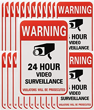 Warning 24 Hour Video Surveillance Vinyl Sticker Window Decal CCTV Security Sign