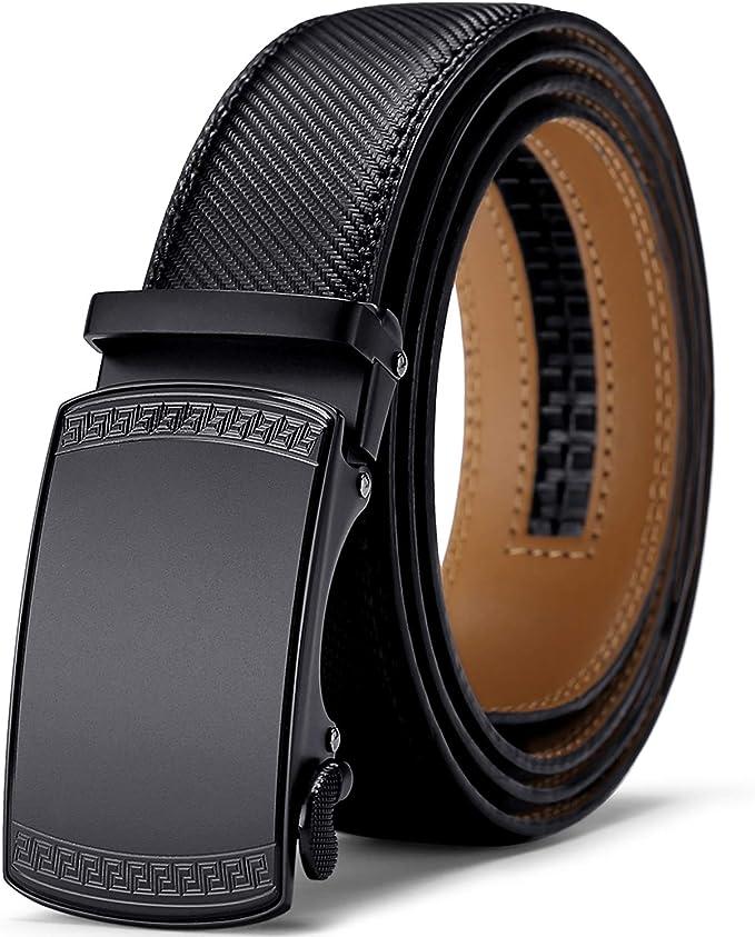 Genuine Mens Leather Belt Automatic Buckle Ratchet Waist Black Belt Jeans Gift
