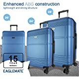 Eaglemate 3pc Luggage Set Suitcase Trolley Carry On Hard Case Soft Lightweight Luggage Set (Blue)