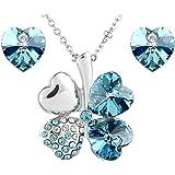 Le Premium® Bijoux Collier pendentif Trèfle + Boucles d'oreilles Coeur Swarovski en forme de cristaux turquoises