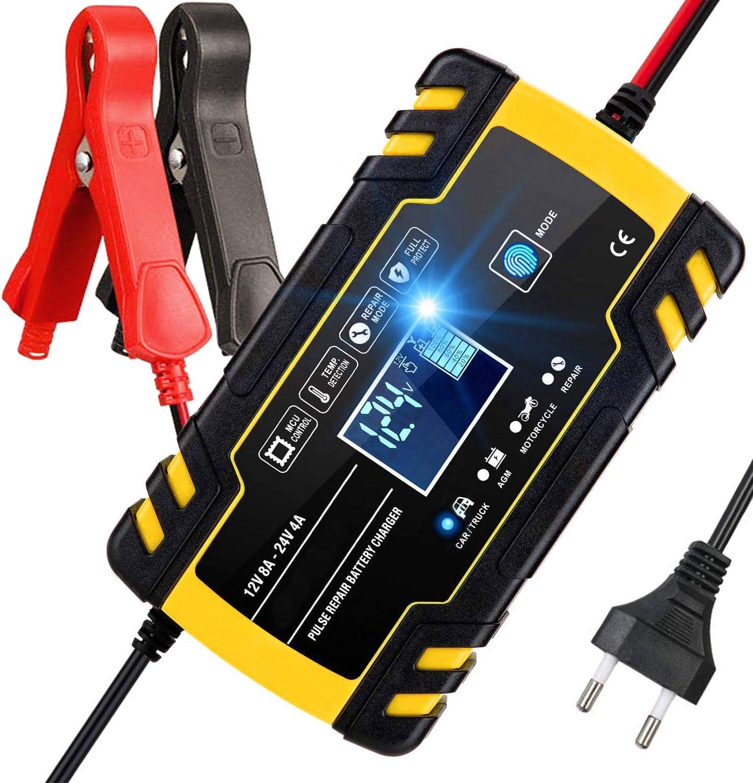 Aibeau Ladegerät Autobatterie 12v 24v Batterie Ladegerät Auto Erhaltungsladegerät Mit Lcd Bildschirm Mehrfachschutz Für Autobatterie Motorrad Rasenmäher Oder Boot Auto