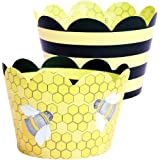 Bumble Bee Cupcake Wrappers, Yellow and Black Stripe, Confetti Couture Party Supplies, 36 Wraps