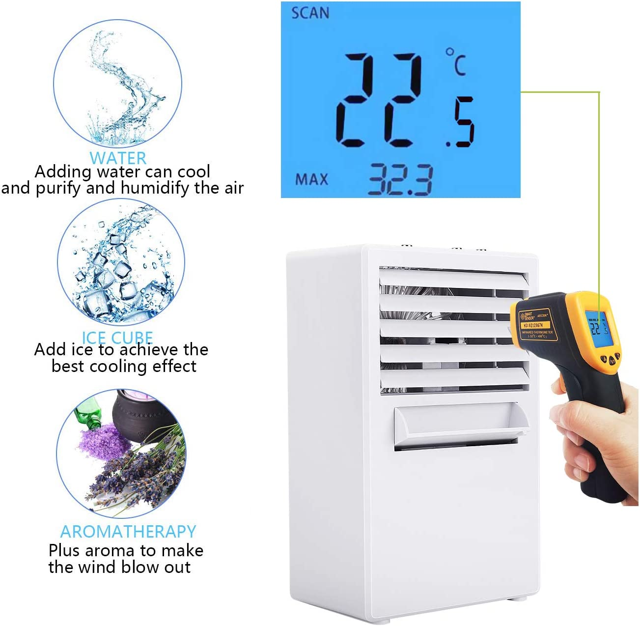 Climatizador Evaporativo Port/átil para Casa y Oficina 3 En 1 Espacio Personal Enfriador de Aire Humidificador Purificador 3 Velocidades Winload Mini Climatizador Aire Acondicionado M/óvil