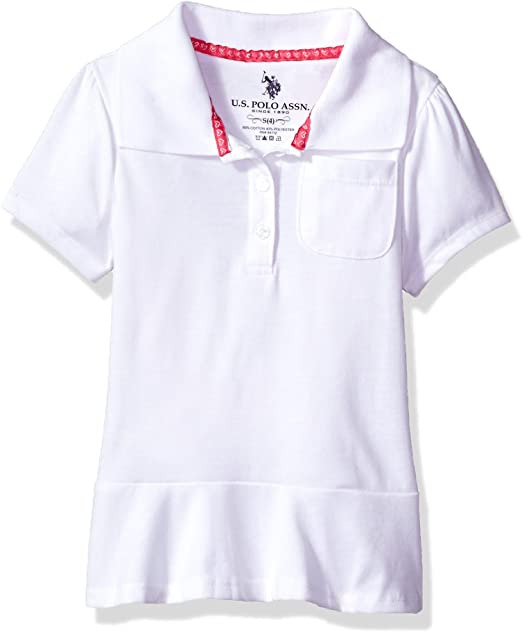 U.S Polo Assn Girls Polo Shirt  Medium 10//12 Dark Navy Button Frill Nice NEW