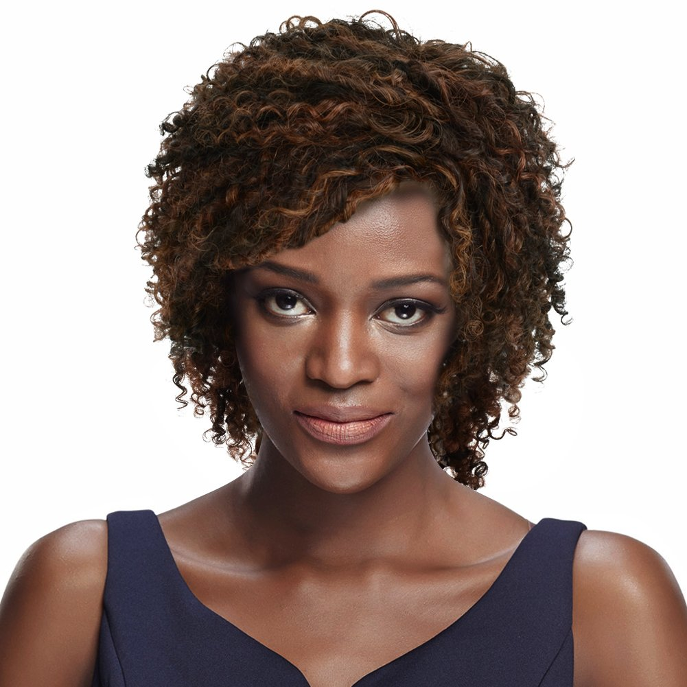 Sleek 8 Chin Length Mixed Color Short Curly Wig With Brazilian Hair Wispy Layers Of Spiral Curls Black Brownish Blonde Medium Auburn Mixed Wigs For Black Women Human Hair
