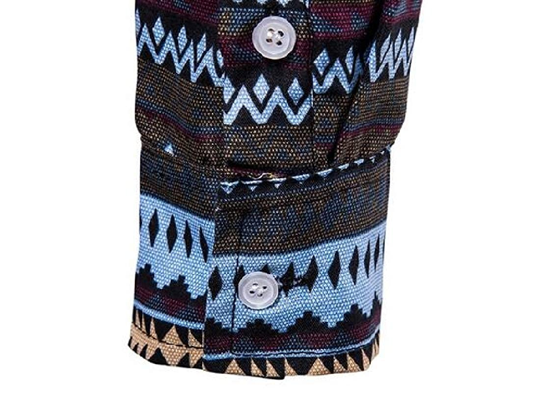 Rrive Mens Printed Long Sleeve Regular Fit Hawaii Casual Button Down Shirt