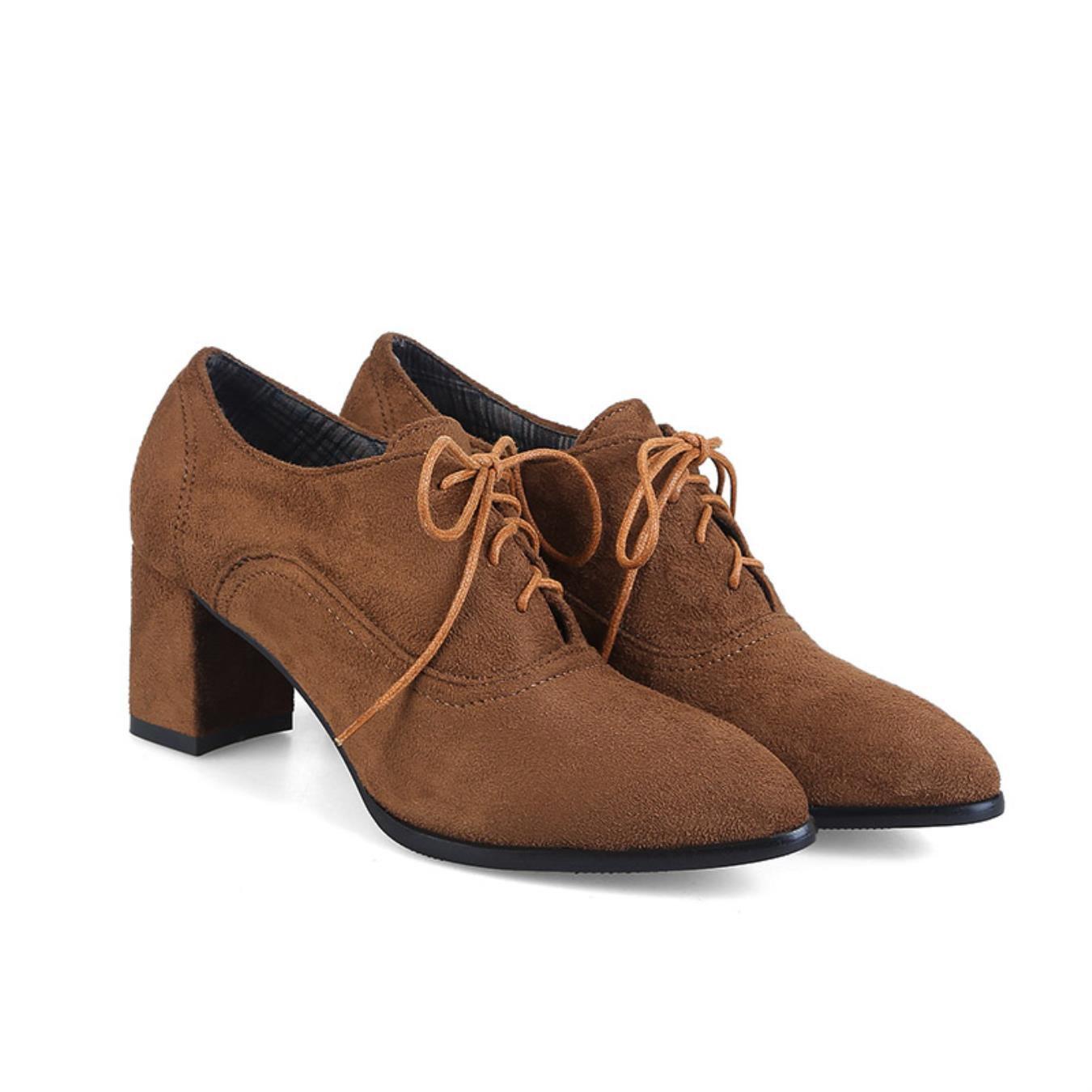 Phoentin lace up women shoes high heel 6cm square flock shoe woman heel cotton fabric inside spring autumn pump