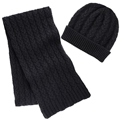 36e91cbe51c Pure Cashmere Cable Knit Hat and Scarf Set - Knitted in Scotland (Black)