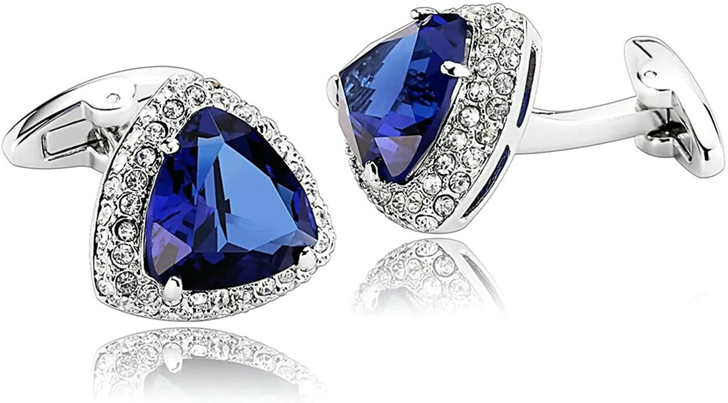 Aooaz Cufflinks for Men Stainless Steel Inlaid Cubic Zirconia Triangle Cufflinks White Blue White Blue