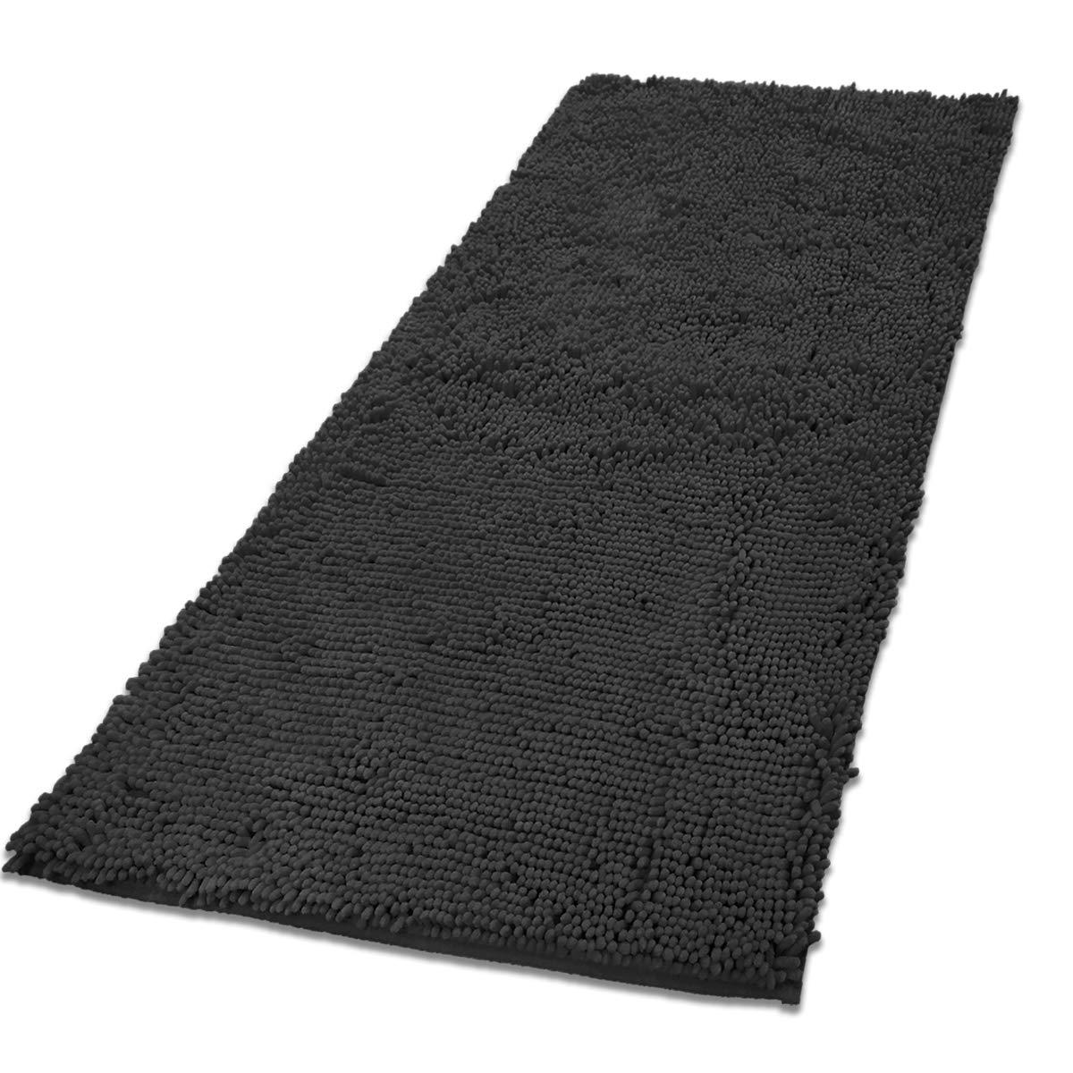 MAYSHINE Chenille Bath Mat Dog Door mat (31''x59'') Runner for Front Inside Floor Dirty Trapper Doormats, Quick Drying, Washable, Prevent Mud Dirt - Dark Gray