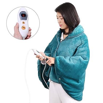 Manta Electrica Para la Espalda, Hombros y Cuello Calentado con Tecnología de Calentamiento Rápido con 6 Niveles de Temperatura- Apagado ...