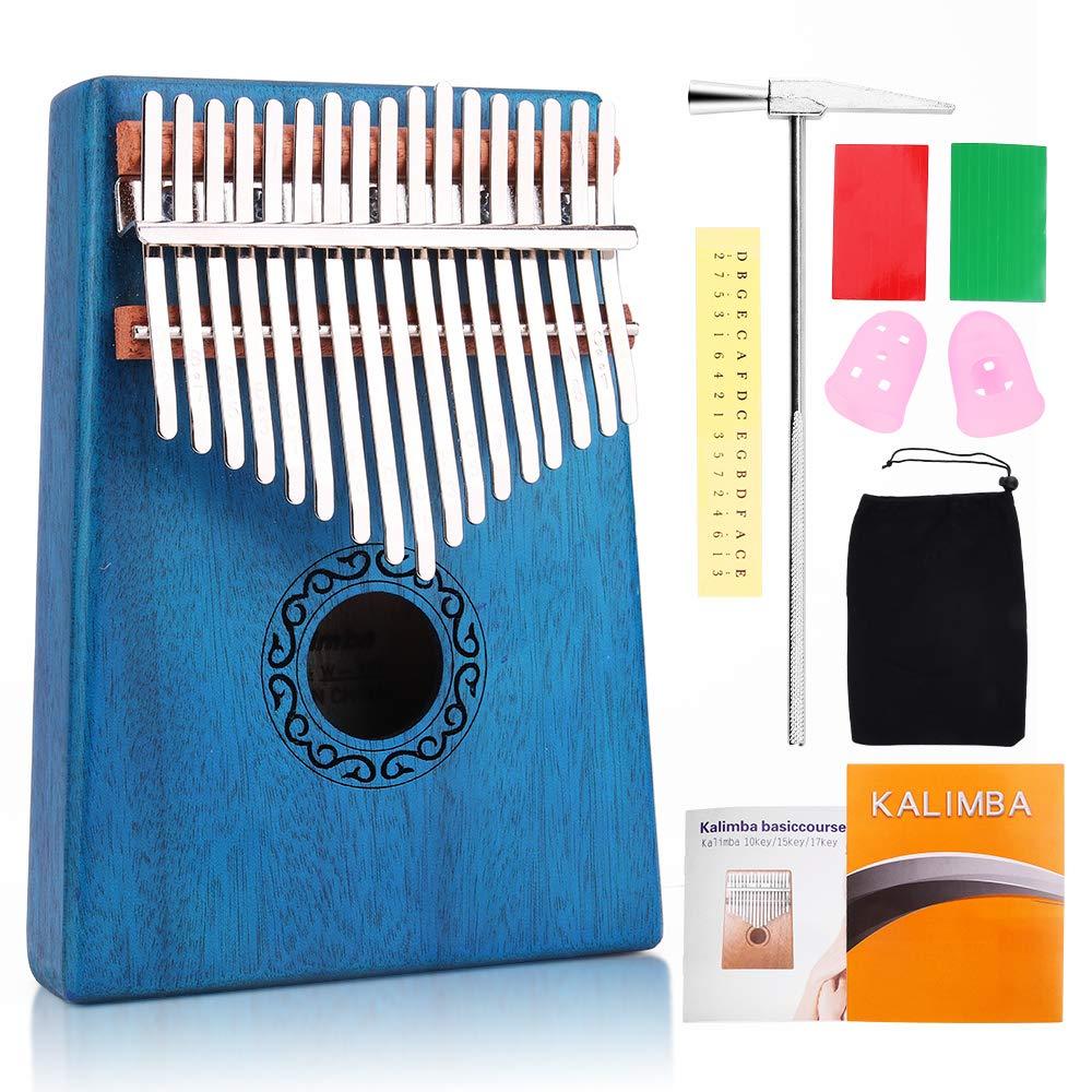bleu Kalimba Craftsman168 Piano /à doigts solides en acajou de haute qualit/é avec /étui portable et protection du pouce pour les d/ébutants