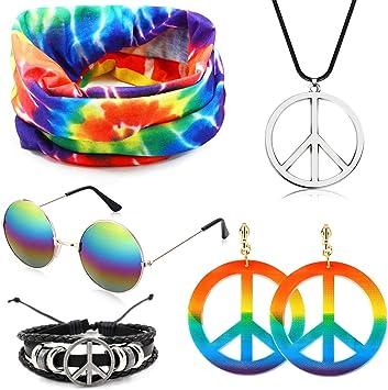 SPECOOL Conjunto de Disfraces Hippie Accesorios Hippie Collar y ...
