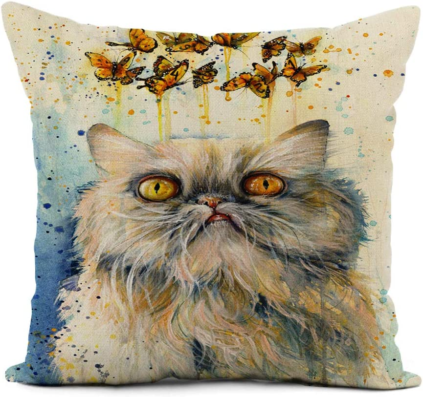 rouihot Linen Throw Pillow Cover Fantasy Colorful Watercolor Painting of Dreaming Persian Cat Home Decor Pillowcase 18x18 Inch Cushion Cover for Sofa Couch Bed and Car