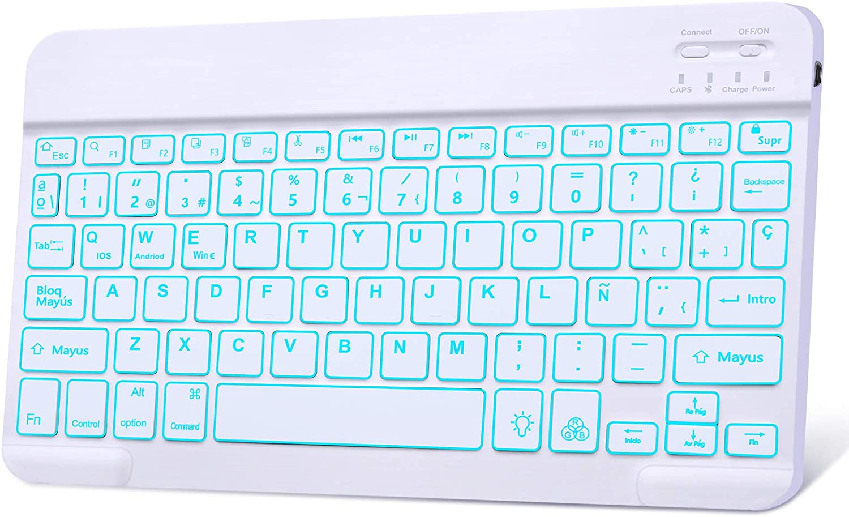 Teclado Bluetooth Tablet, DINGRICH Español Teclado 7 Color Retroiluminación Recargable inalámbrico portátil para Sistemas computadora portátil, ...