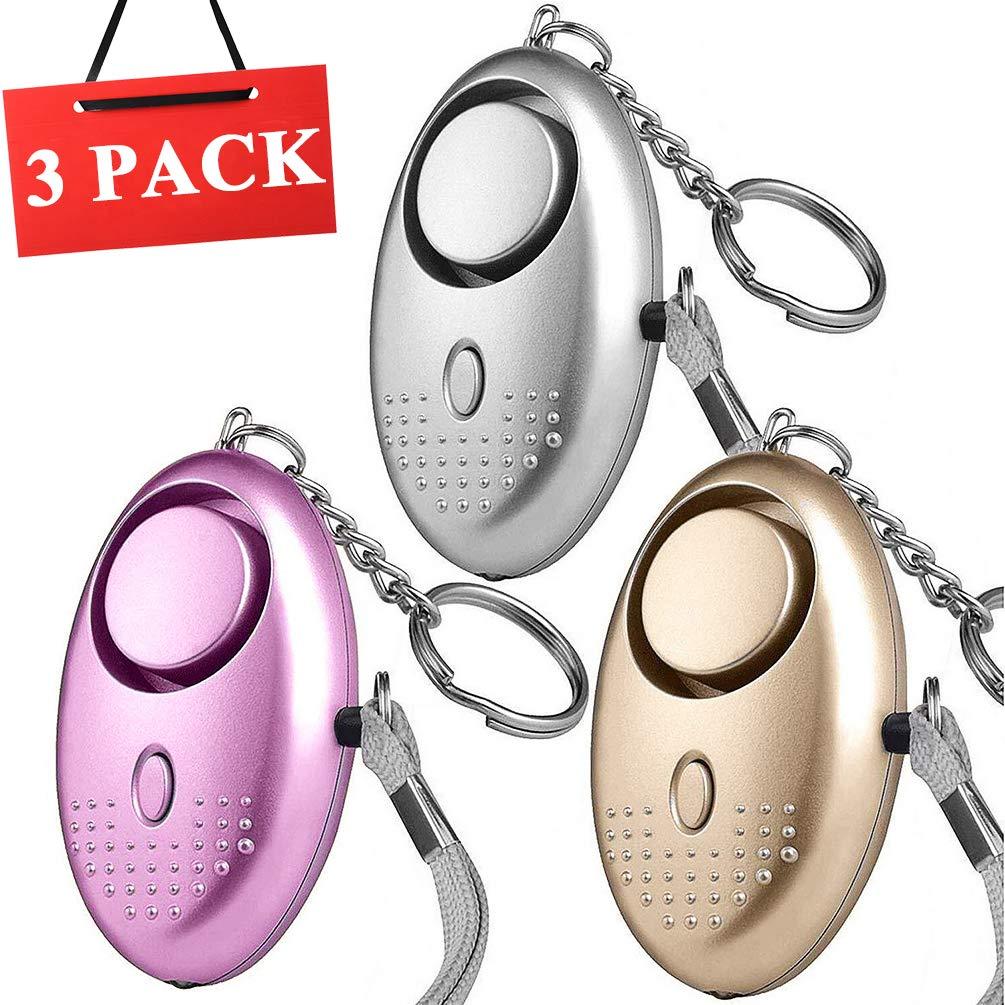 3 PCS Alarma Personal Autodefensa Llaveros | VOOKI Alto Decibeles Alarma con Función de Iluminación para Seguimiento/Pánico/Seguridad/Ataque/Protección