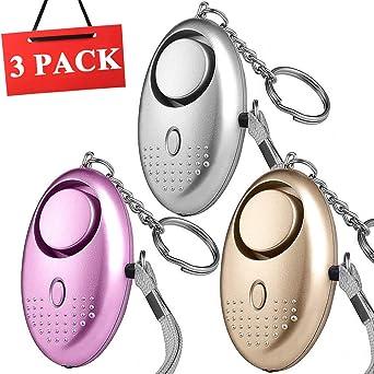 3 PCS Alarma Personal Autodefensa Llaveros | VOOKI Alto Decibeles Alarma con Función de Iluminación para ...