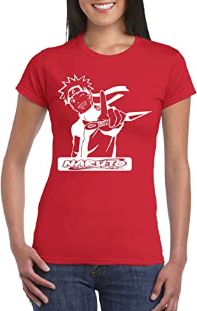 Red Female Gildan Short Sleeve T-Shirt - Naruto Shippudin/Logo name design