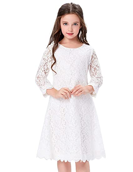 8753ff7dbae GRACE KARIN Girl s Long Sleeve A-Line Lace Kid Dresses 10Yrs Cl858-1 ...