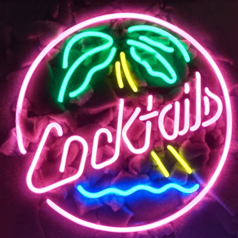 COCKTAILS PALM TREE Real Glass Neon Light Sign Home Beer Bar Pub Recreation Room Game Room Windows Garage Wall store Sign (17''x14'' Large)