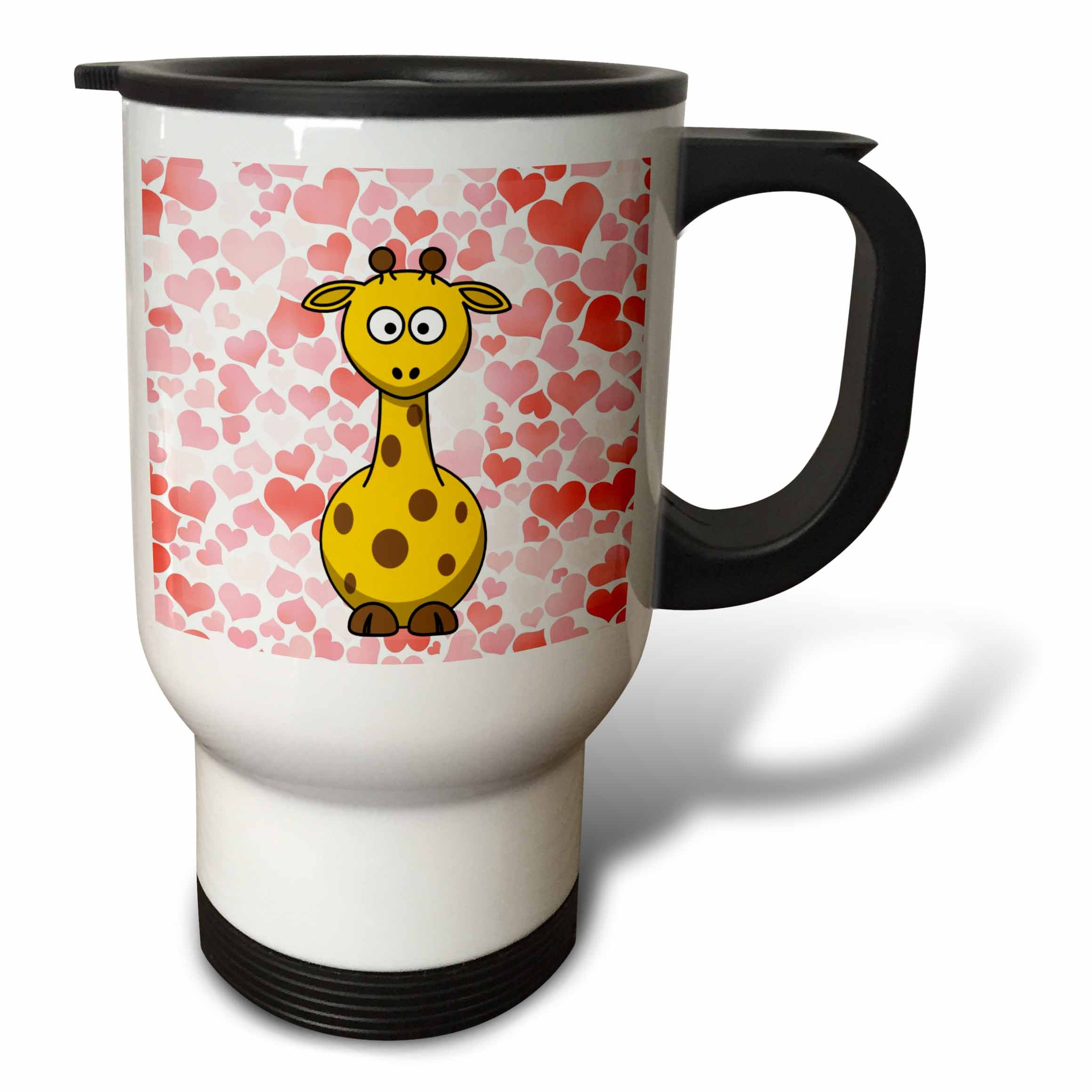 3dRose Giraffe with Hearts, Cute Animal Art, Childrens Art, Stainless Steel Travel Mug, 14-Oz