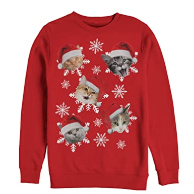 c02f26f0b6a27e Amazon.com: Men's Ugly Christmas Sweater Cat Snowflakes Sweatshirt ...