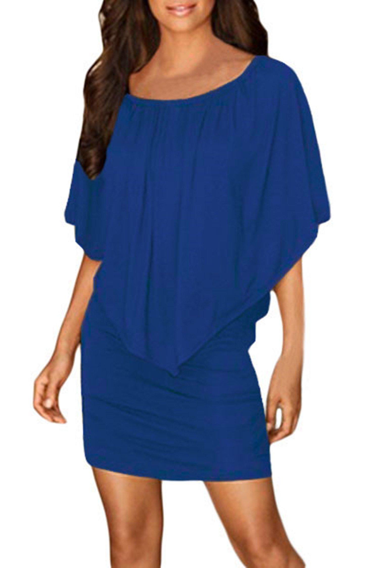 9990959aaf Sidefeel Women Off Shoulder Ruffles Party Mini Dress XXX-Large Blue    Dresses   Clothing
