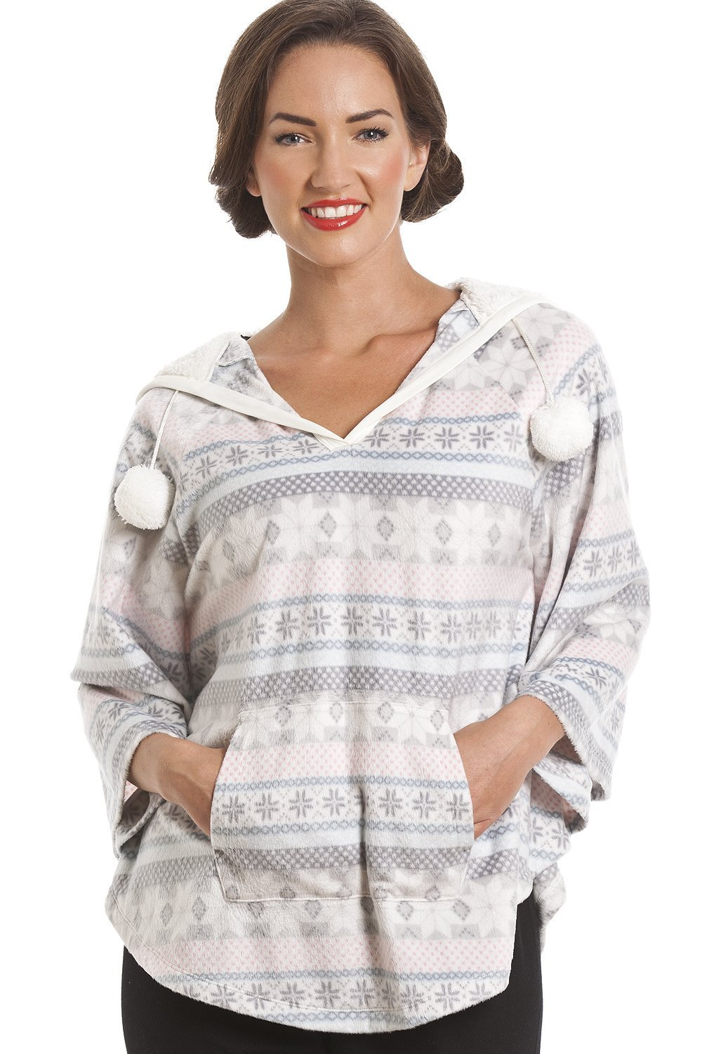 Camille Womens Ladies Grey and Pink Aztec Print Hooded Fleece Poncho