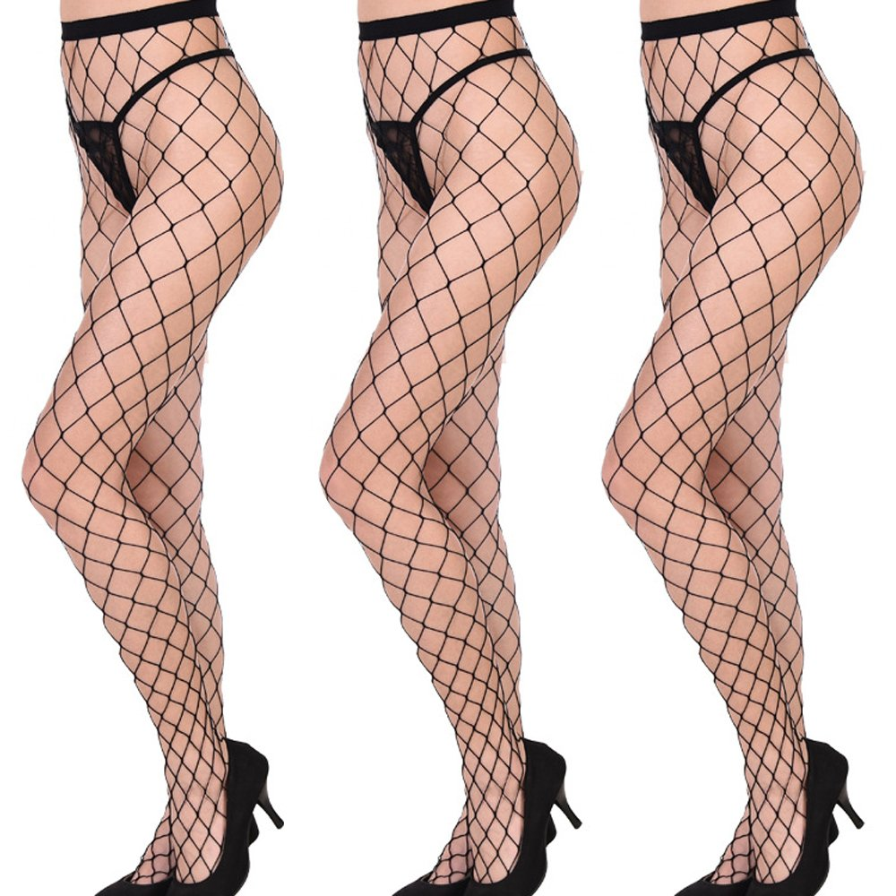 Aschic Women's Sexy Lace Garter Pantyhose Black Silk Stockings Suspender Tights (3Pack) (one size, Style 4)