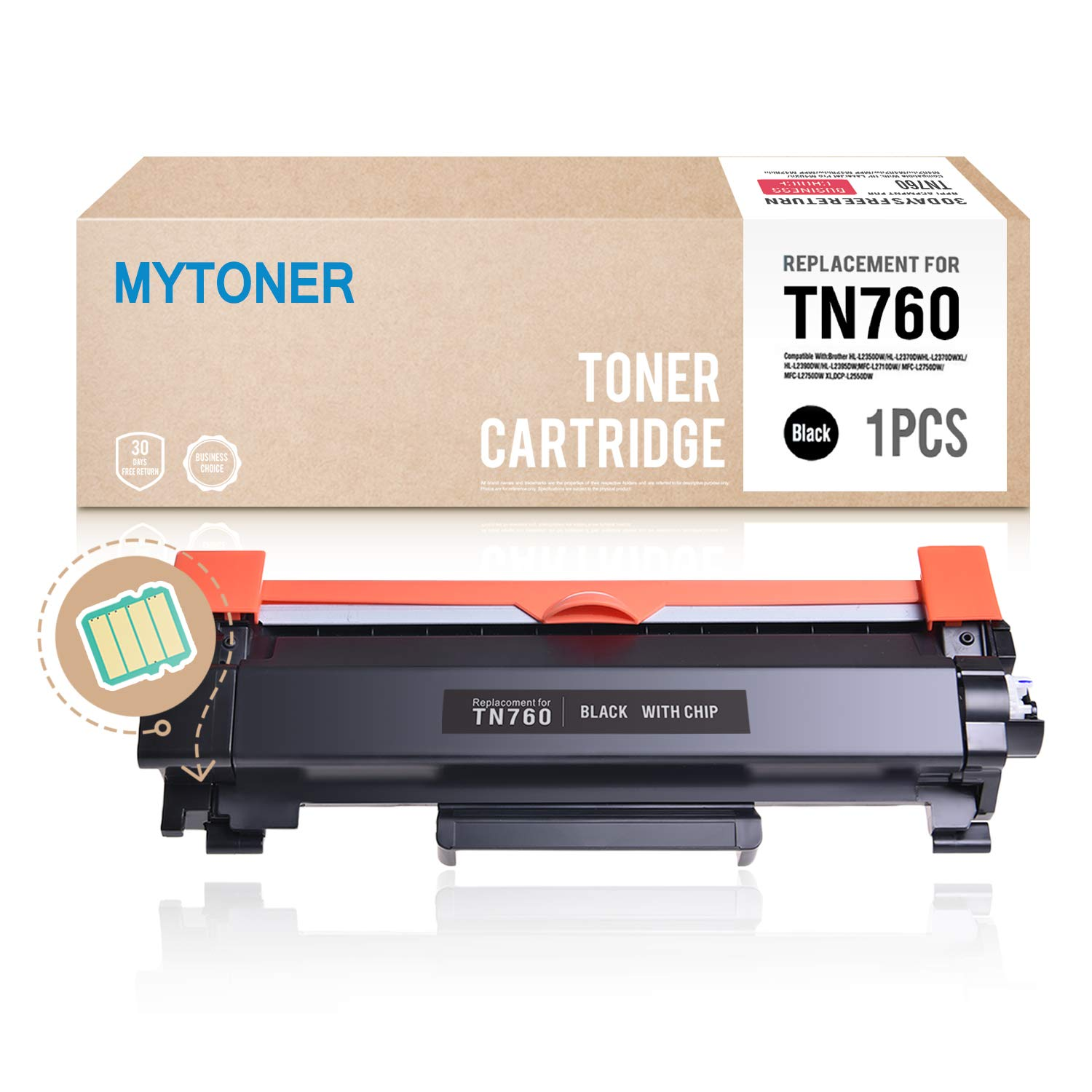 MYTONER (with CHIP) Compatible Brother TN760 TN730 TN-760 Toner Cartridge High Yield for Brother HL-L2350DW HL-L2390DW HL-L2395DW HL-L2370DW DCP-L2550DW MFC-L2710DW MFC-L2730DW MFC-L2750DW