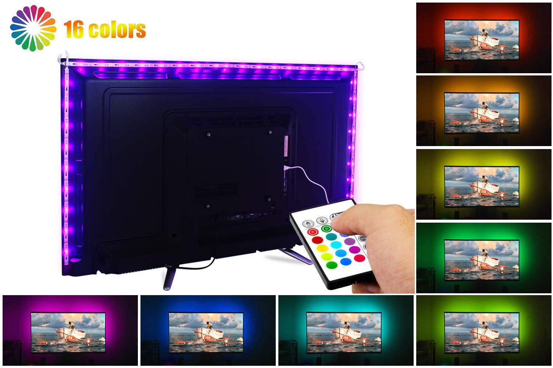 LED TV Backlight,ViLSOM Powered USB LED Strip Lights 6.56Ft for 40 to 60 Inch HDTV - Bias Lighting with 24keys Romote Control RGB Lighting by ViLSOM (Image #2)