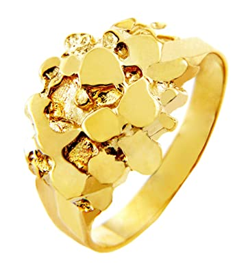 Mens 10k Gold Nugget Rings The StoicAmazoncom