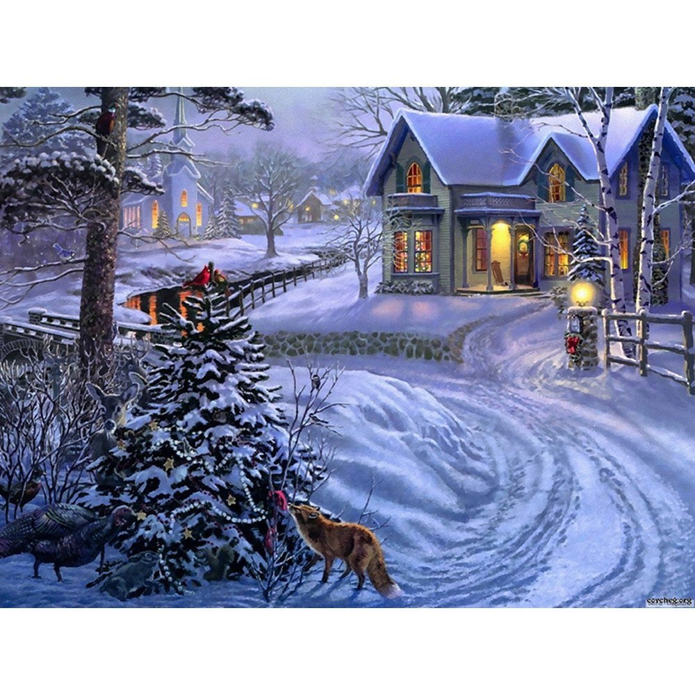 DIY 5D Diamond Painting,Dartphew Snowy Night & Small Village & Cute Little Animals - Crafts & Sewing Cross Stitch,Wall Stickers for Living Room Home Decoration(Size:30X40cm)