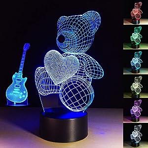 3D Night Light 7 Colors Changing Night Light Teddy Bear Home Decor Art 3D Lights Modern Art Lamp Guitar Gift 3D Lamp