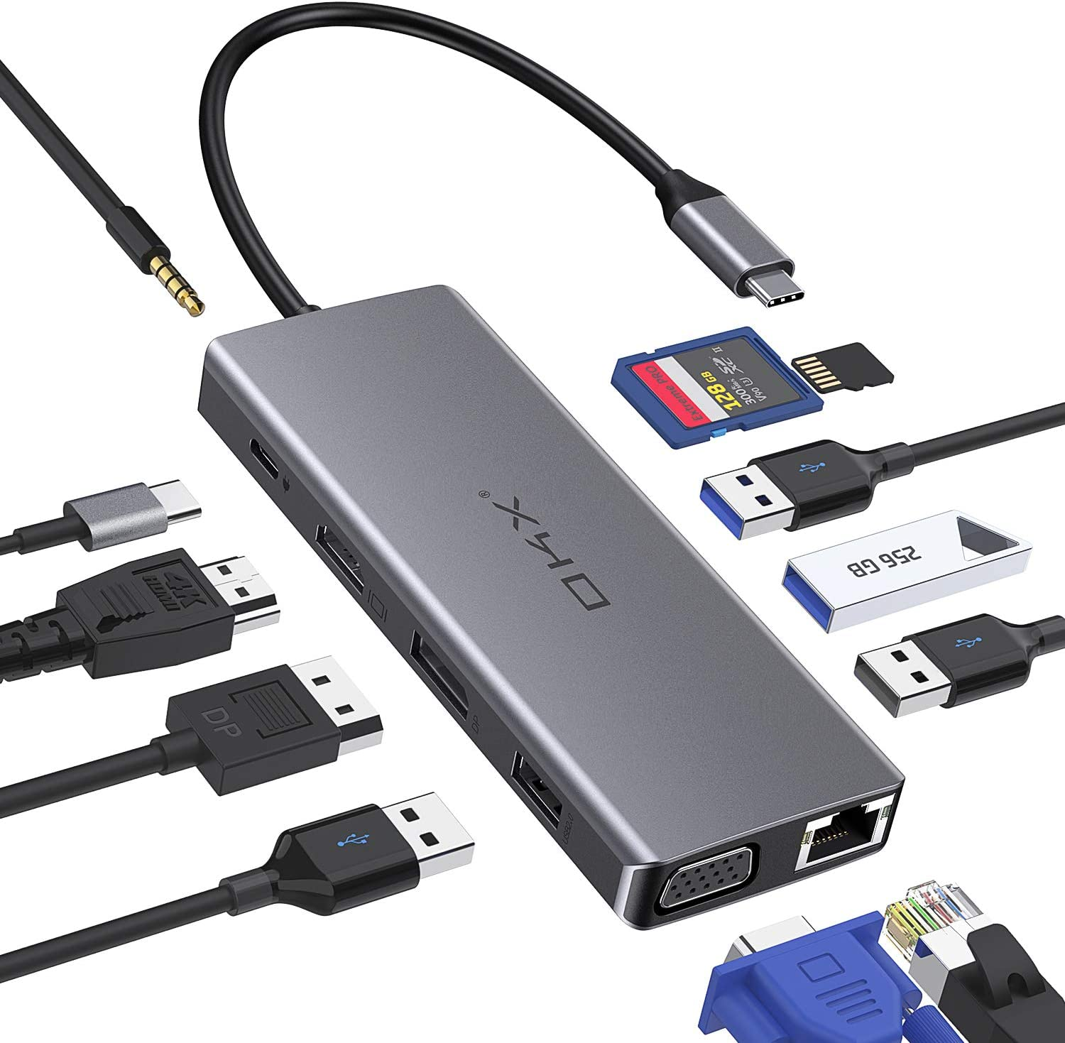 USB C Hub, OKX 12 in 1 Type C Adapter Dock with 4K HDMI/DP, VGA, PD 3.0, Ethernet, SD/TF Card Reader, 4 USB-A, Mic/Audio for MacBook Pro and Type-C Laptops (Triple Display Docking Station for Windows)