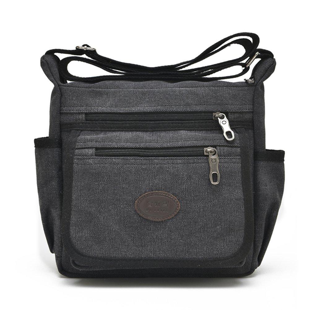 Qflmy Vintage Canvas Messenger Bag Handbag Crossbody Shoulder Bag Leisure Change Packet (black)