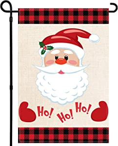 Tbrand Christmas Garden Flag Double-Sided Burlap Welcome Garden House Flags with Ho Ho Ho Santa for Merry Christmas Holiday Party Decorations Indoor/Outdoor Yard Flags 12 x 18 Inch